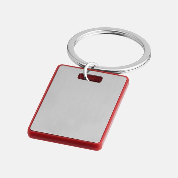 Silver / Röd Kvadratiska nyckelringar med reklamtryck