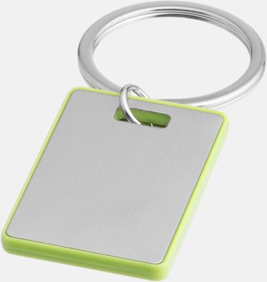 Silver / Grön Kvadratiska nyckelringar med reklamtryck