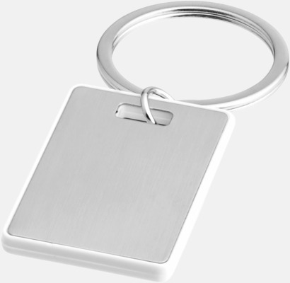 Silver / Vit Kvadratiska nyckelringar med reklamtryck