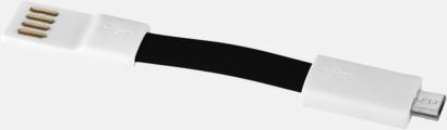 Svart / Vit Magnetisk mikro-USB nyckelring med reklamtryck