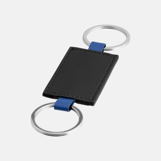 Svart/Royal Dubbla nyckelringar med reklamtryck