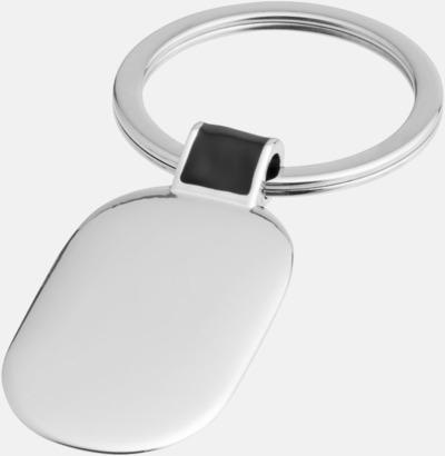 Silver / Svart Ovala metallnyckelringar med reklamtryck