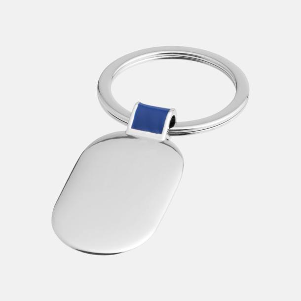 Silver/Royal Ovala metallnyckelringar med reklamtryck