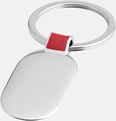 Silver / Röd Ovala metallnyckelringar med reklamtryck