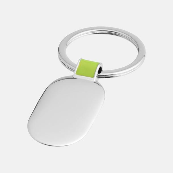 Silver / Grön Ovala metallnyckelringar med reklamtryck