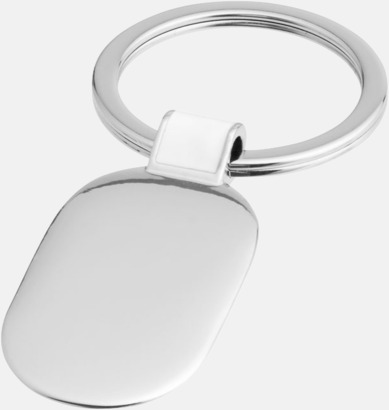 Silver / Vit Ovala metallnyckelringar med reklamtryck