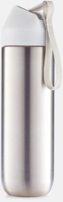 Vit/Grå Vattenflaskor i metall med reklamtryck
