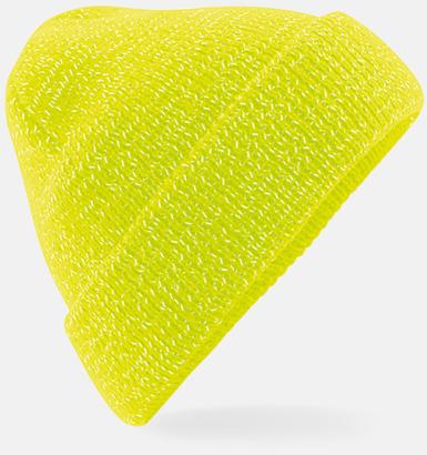Fluorecent Yellow Mössa med reflekterande fibrer med eget tryck