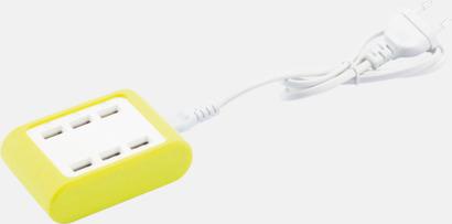 Limegrön / Vit 4.2A laddare med 6 USB-portar med reklamtryck