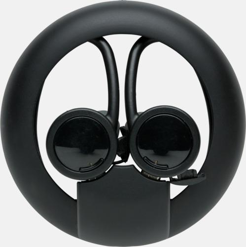 Svart Trådlösa sport öronsnäckor med reklamtryck