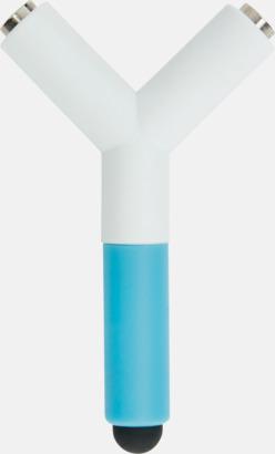 Vit / Blå Ljudsplitter & styluspennor med reklamtryck