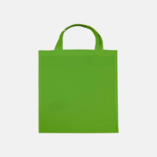 Ljusgrön (korta handtag) Tygpåsar med långa eller korta handtag i flera färger med eget reklamtryck