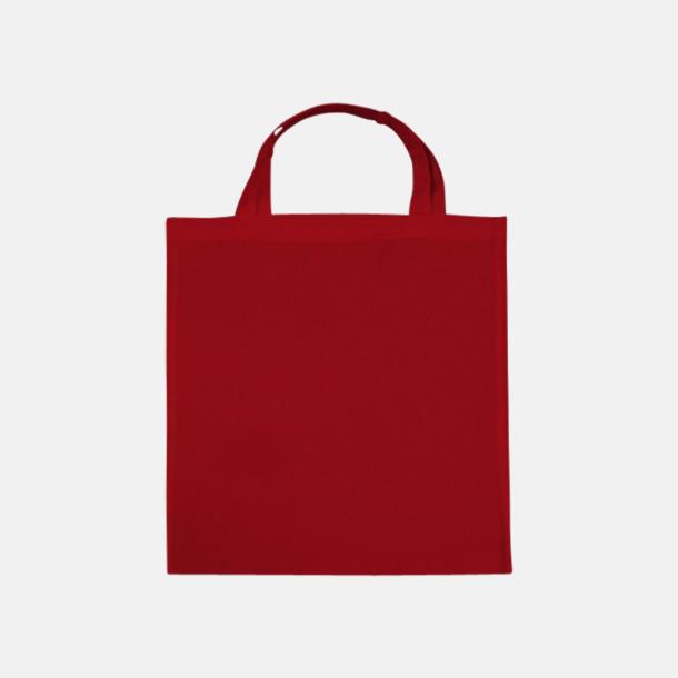Röd (korta handtag) Tygpåsar med långa eller korta handtag i flera färger med eget reklamtryck