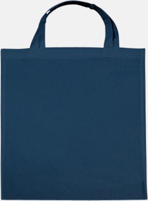 Indigo Blue (korta handtag) Tygpåsar med långa eller korta handtag i flera färger med eget reklamtryck