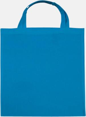 Mid Blue (korta handtag) Tygpåsar med långa eller korta handtag i flera färger med eget reklamtryck