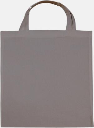 Dark Grey (korta handtag) Tygpåsar med långa eller korta handtag i flera färger med eget reklamtryck