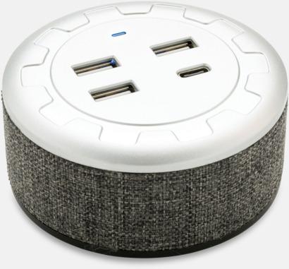 Grå Tygklädda USB-laddare med reklamtryck