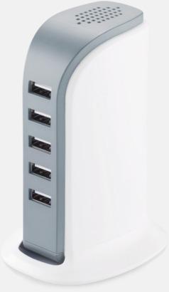 Vit / Grå 6 A-laddare med 5 USB-portar med reklamtryck
