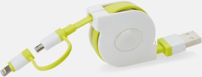 Vit / Limegrön Utdragbar MFi-kabel med reklamtryck
