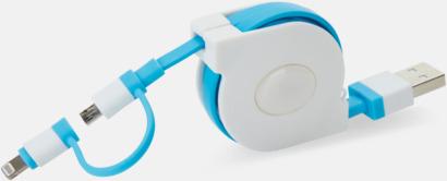 Vit / Blå Utdragbar MFi-kabel med reklamtryck