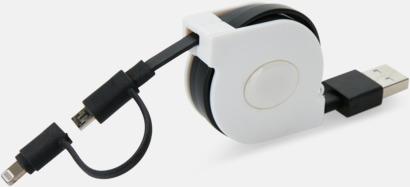 Vit / Svart Utdragbar MFi-kabel med reklamtryck