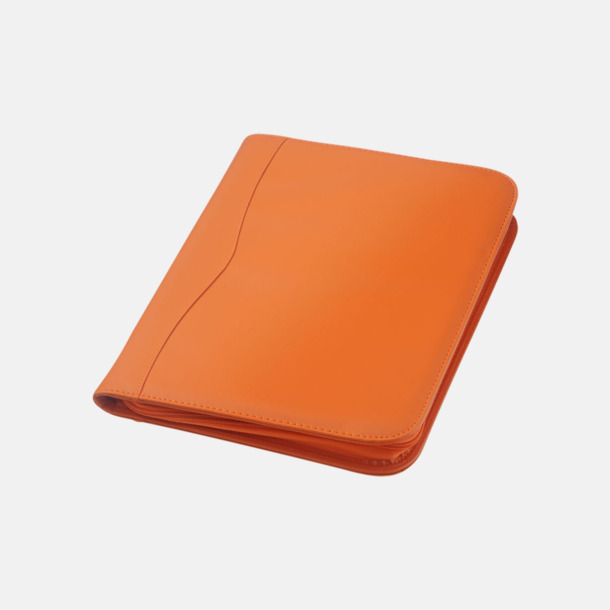 Orange Blixtlåsförsedda A4-mappar med reklamtryck