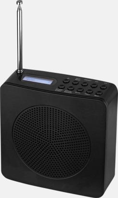 Svart DAB/FM-klockradio med reklamtryck