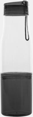 Transparent / Svart Sportflaska med förvaringsutrymme - med reklamtryck