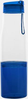Transparent / Blå Sportflaska med förvaringsutrymme - med reklamtryck
