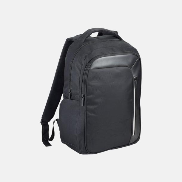 Svart Laptopryggsäckar med RFID-blockeringsteknik - med reklamtryck