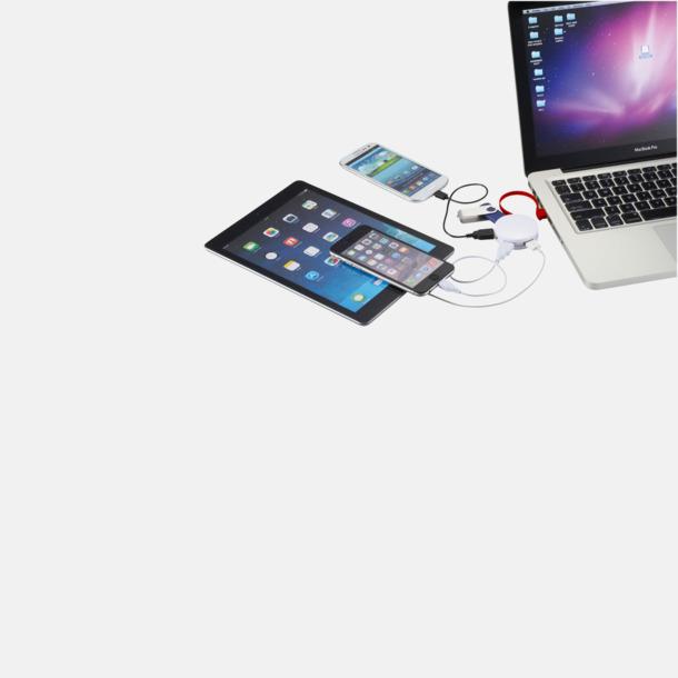 USB-hub med inbyggd sladd med reklamtryck