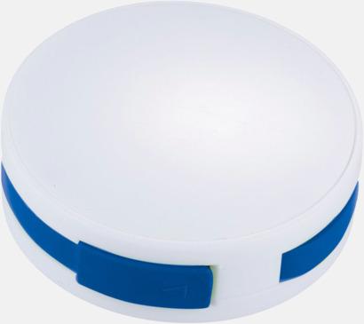 Vit/Royal USB-hub med inbyggd sladd med reklamtryck