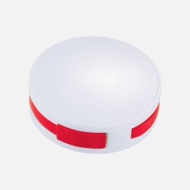 Vit / Röd USB-hub med inbyggd sladd med reklamtryck