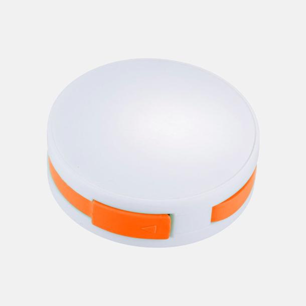 Vit / Orange USB-hub med inbyggd sladd med reklamtryck