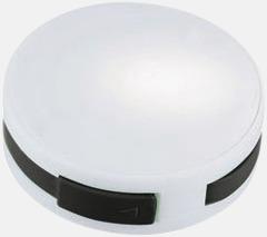 Vit / Svart USB-hub med inbyggd sladd med reklamtryck