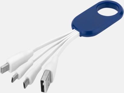 Vit/Royal USB-laddningskablar med reklamtryck