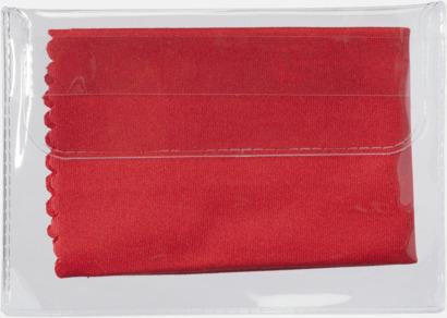 Röd Mikrofiberputsdukar i fodral med reklamtryck