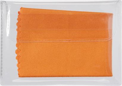 Orange Mikrofiberputsdukar i fodral med reklamtryck