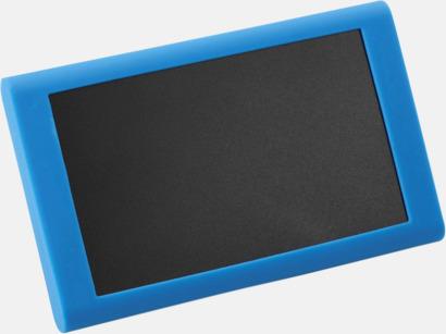 Med blått fodral Powerbank med 3 fodral - med reklamtryck