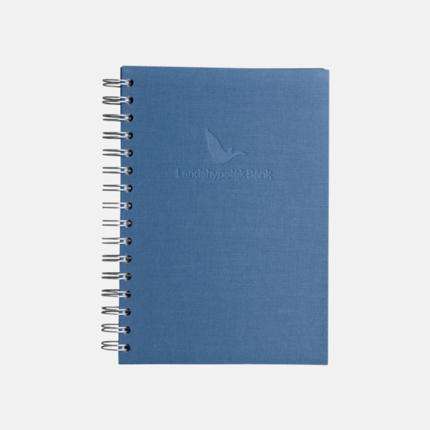 Präglat omslag (blå) Väv Anteckningsbok -  Lyxigare anteckningsbok med präglingstryck