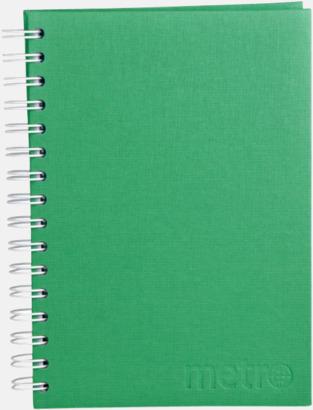 Präglat omslag (grön) Väv Anteckningsbok -  Lyxigare anteckningsbok med präglingstryck
