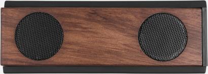 Stora bluetooth-högtalare i trä med reklamlogo