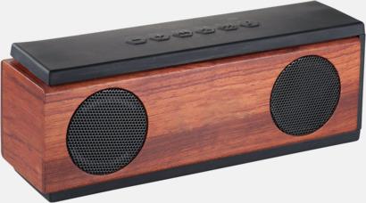 Trä/Svart Stora bluetooth-högtalare i trä med reklamlogo