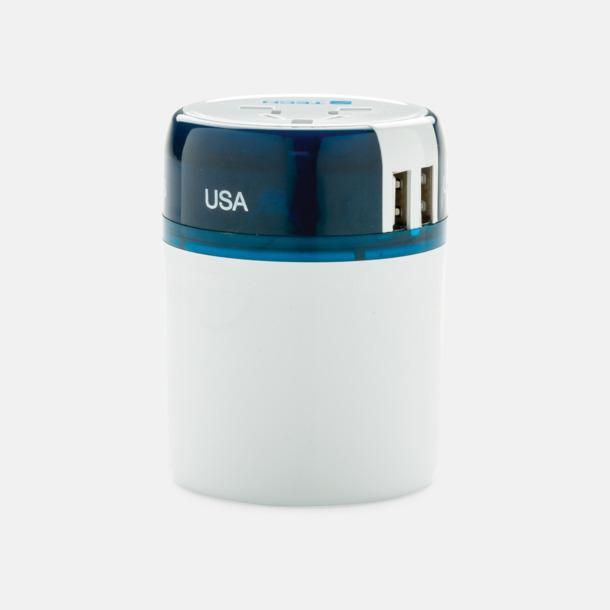 Vit / Blå Kompakta USB adapter med reklamtryck
