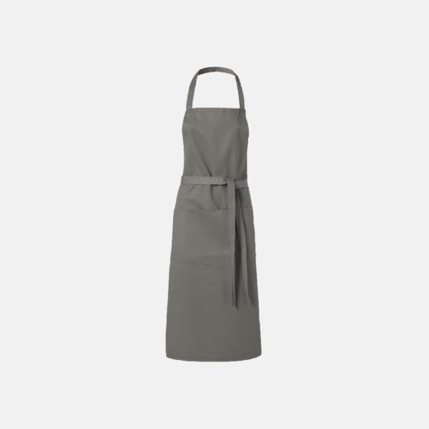 Ljusgrå Köksförkläden med reklamtryck
