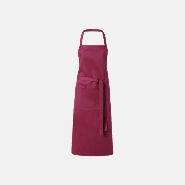 Vinröd Köksförkläden med reklamtryck