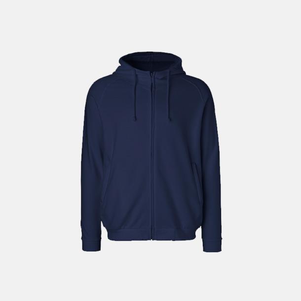 Marinblå Eko unisex huvtröjor med reklamtryck
