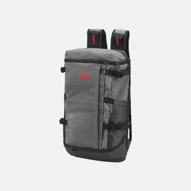 Dark Grey Heather/Scarlet Stora Adidas ryggsäckar med reklamtryck