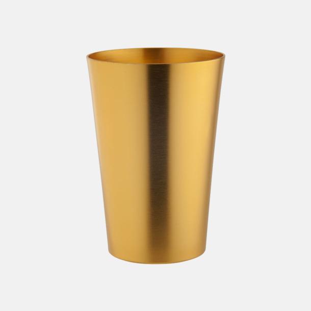 Golden Ölglas i aluminium med reklamtryck