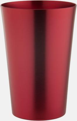 Röd Ölglas i aluminium med reklamtryck